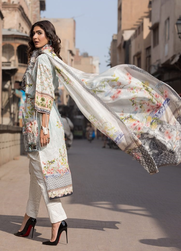 Firdous eid lawn suit with Tissue Silk Digital Printed Dupatta