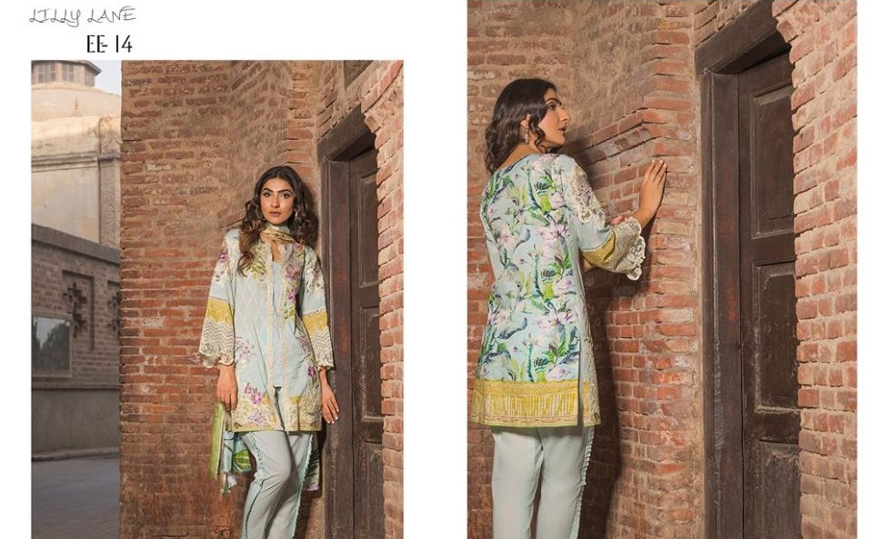 Firdous Festive dress with Printed silk Dupatta for Eid