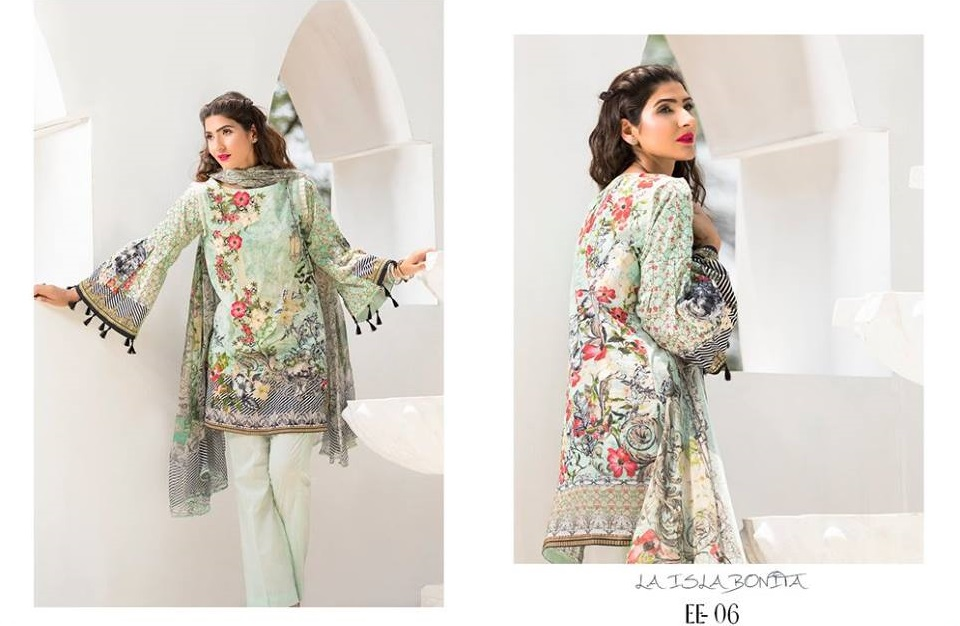 Digital Printed Eid Shirt with Organza Neckline by Firdous