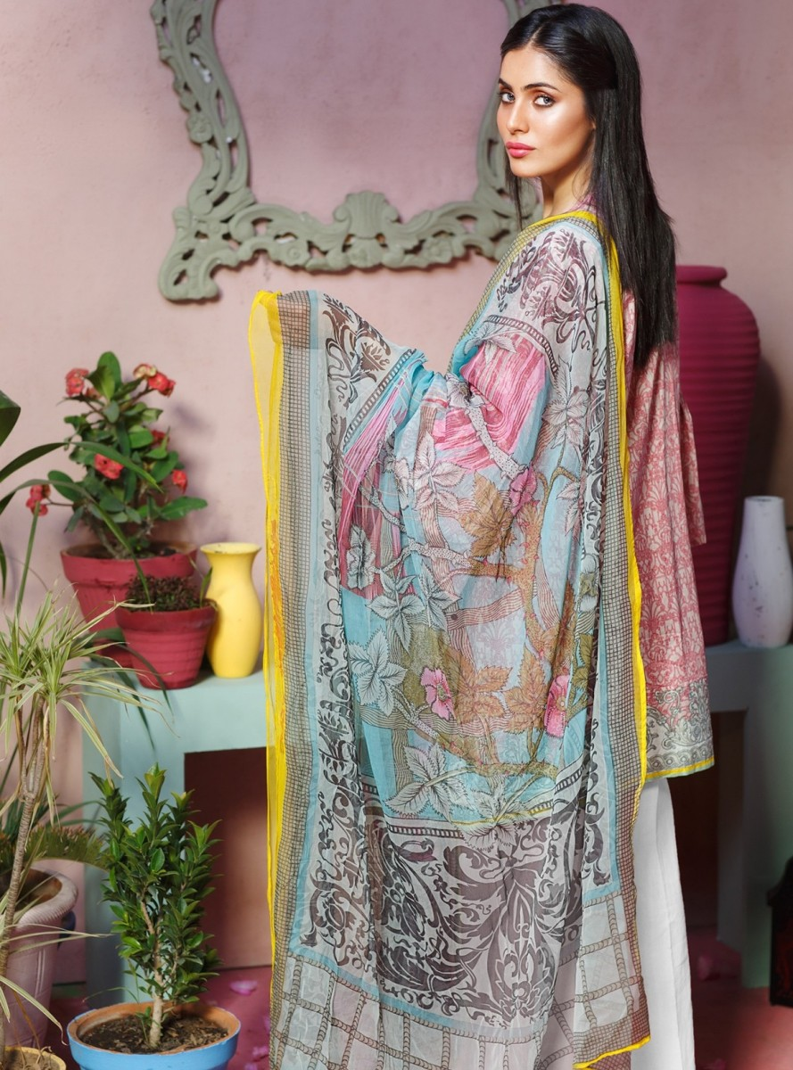 Khaadi Pink embroidered lawn eid dress with chiffon dupatta