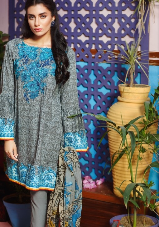 Khaadi Grey Embroidered Lawn Eid suit with blue contrast