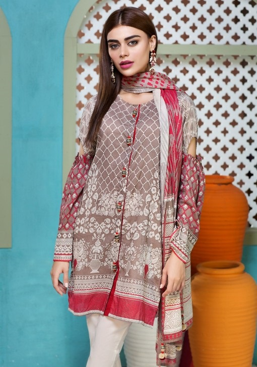 Beige Printed Lawn Khaadi eid dress