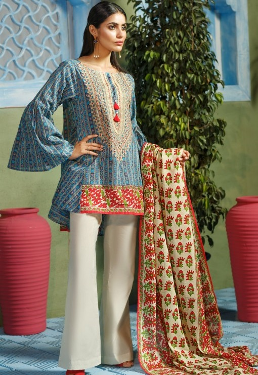 Short embroidered lawn eid kurti by Khaadi