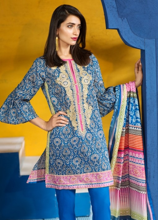 Embroidered lawn eid outfit with lawn dupatta