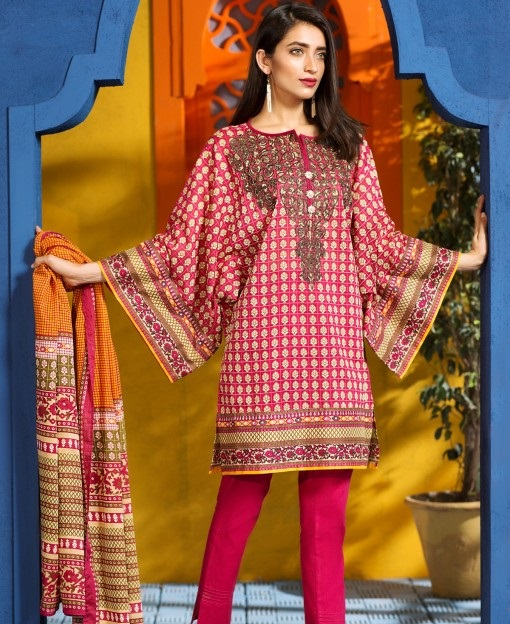 Shocking pink eid lawn suit with lawn dupatta and lawn shalwar
