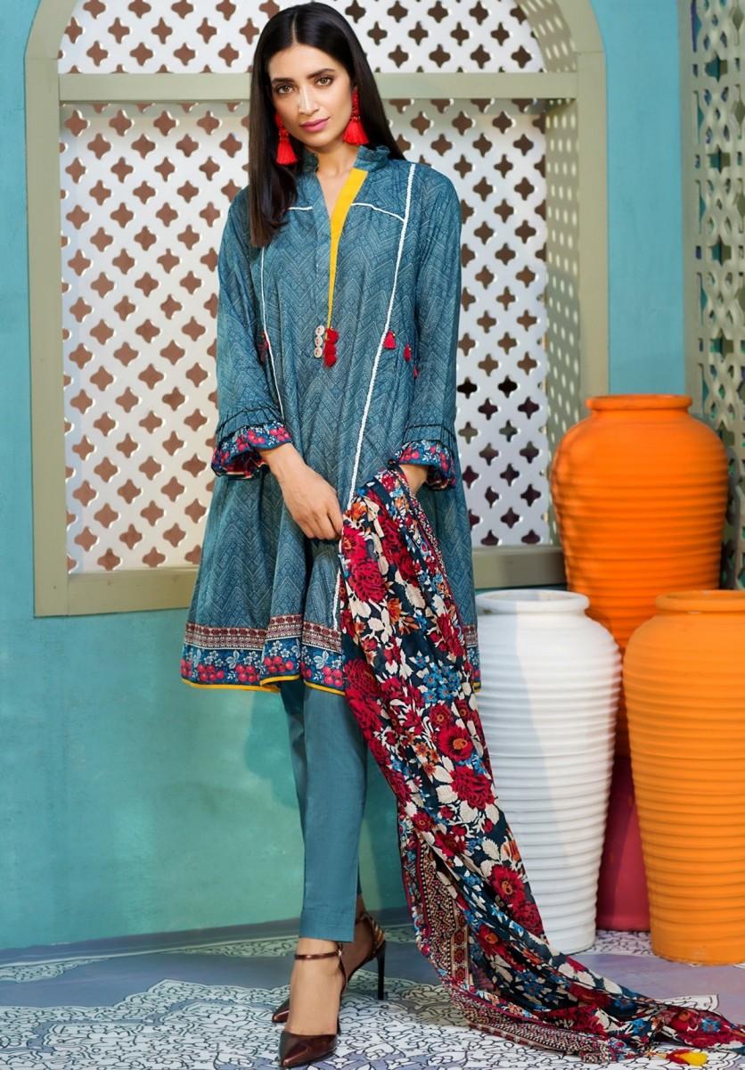 Printed lawn blue shirt with lawn dupatta for Eid