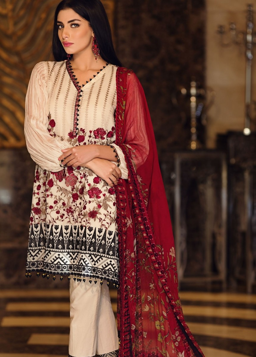 Khaadi Embroidered Chiffon Cream Eid dress with Maroon Embroidery