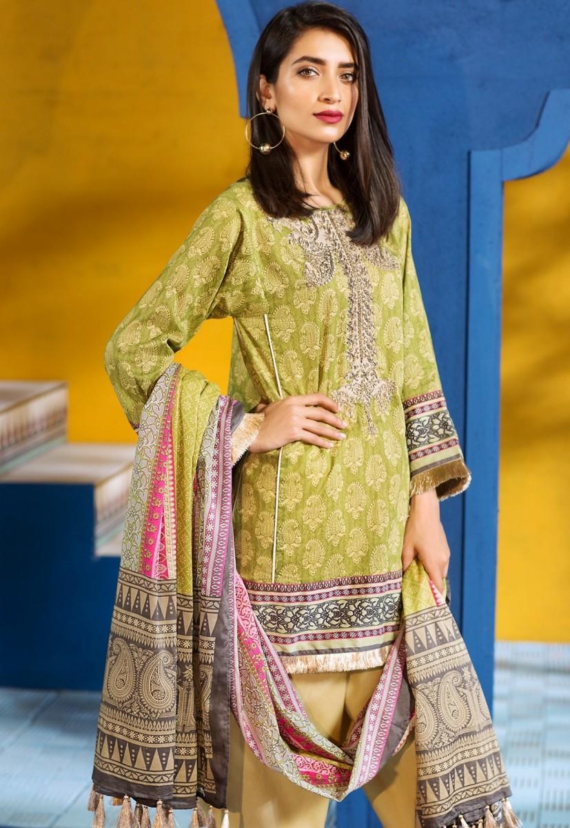 Khaadi green and pink tradational Eid dress