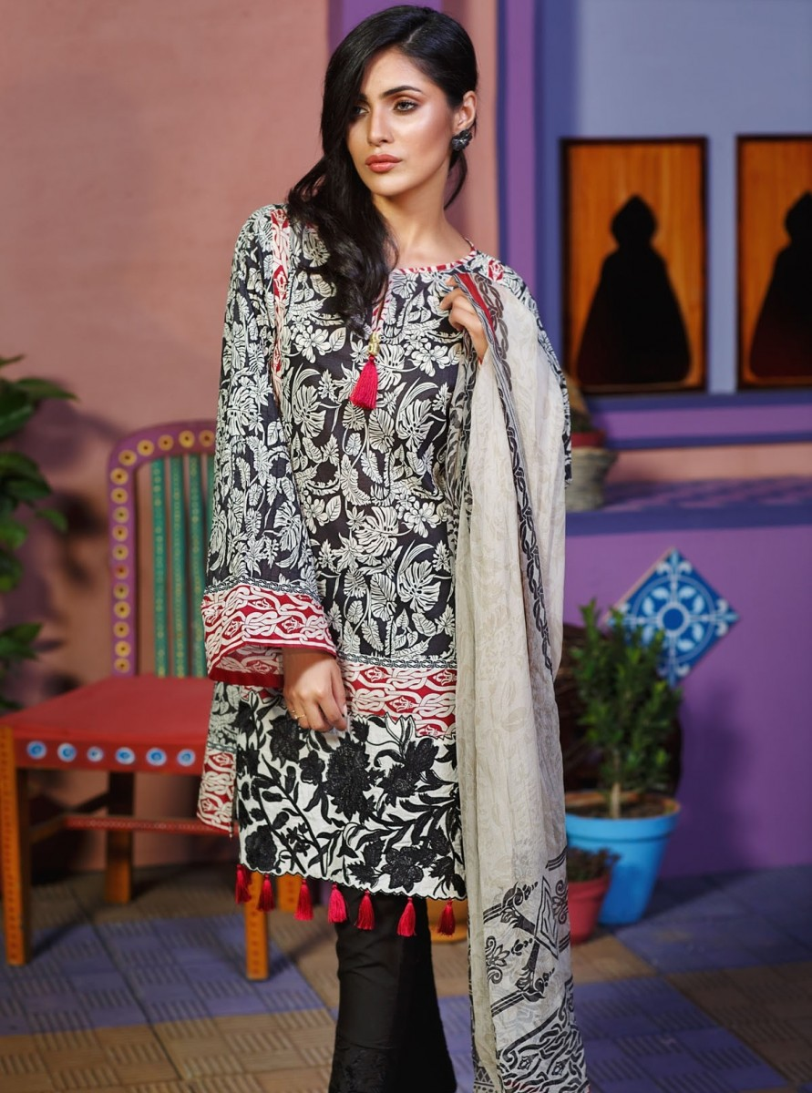 Black and white Eid lawn dress by Khaadi