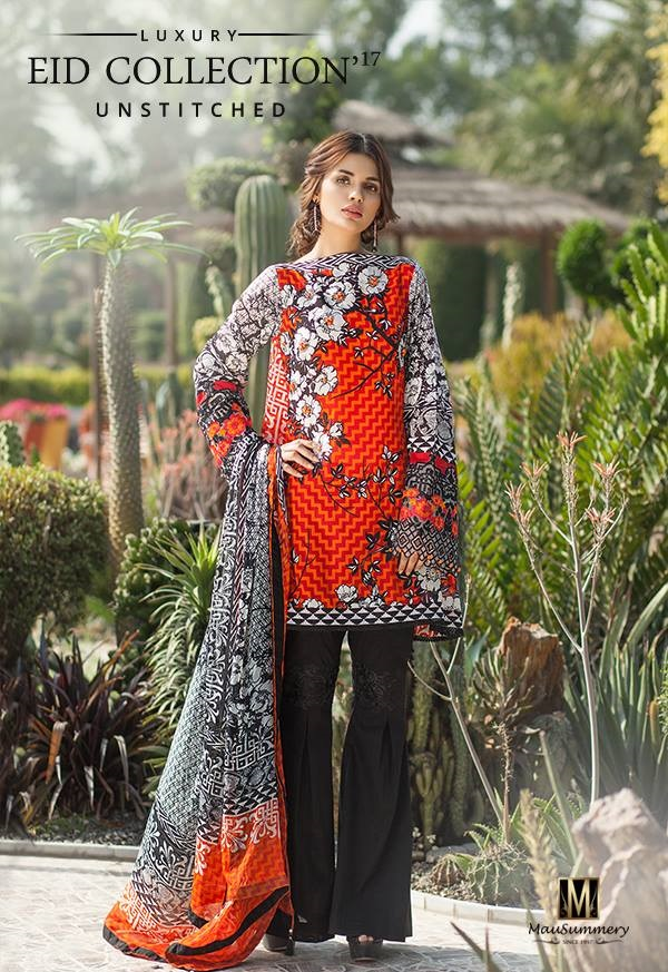 Mausummery Printed Eid Lawn Chiffon Suit with Embroidery