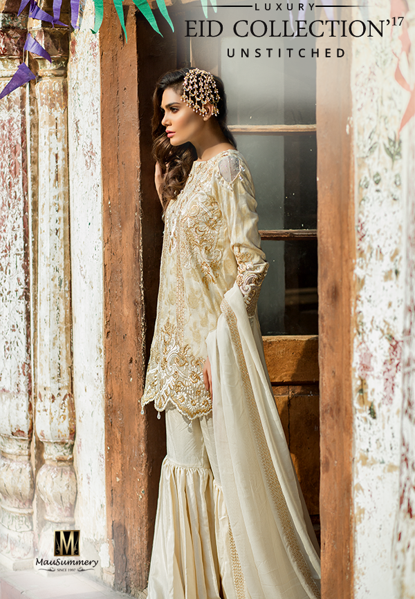 Mausummery Embroidered Jacquard Chiffon Suit with Shara Pants for Eid