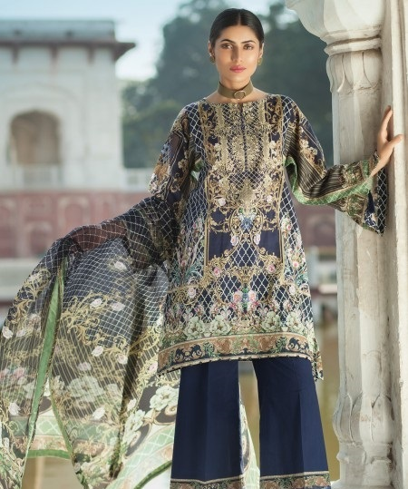 Mausummery BLUEBERRY Ready-Made shirt with Bell Bottom Pant and chiffon dupatta