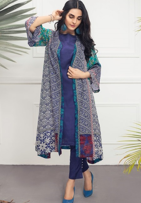 Mausummery BROKEN GLASS Blue Eid outfit in gown style