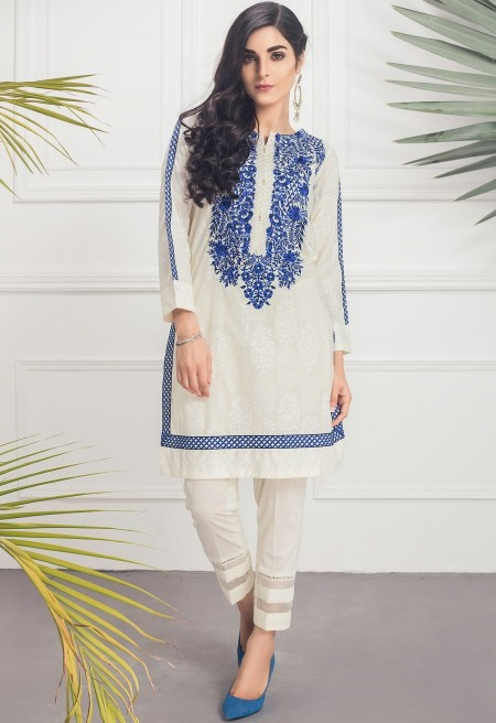 ELEGANCE SUMMER White Eid shirt with Blue Embroidery by Mausummery
