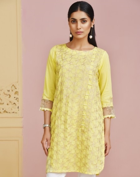 Mausummery LEMON GLAM Embroidered Kurta for Eid