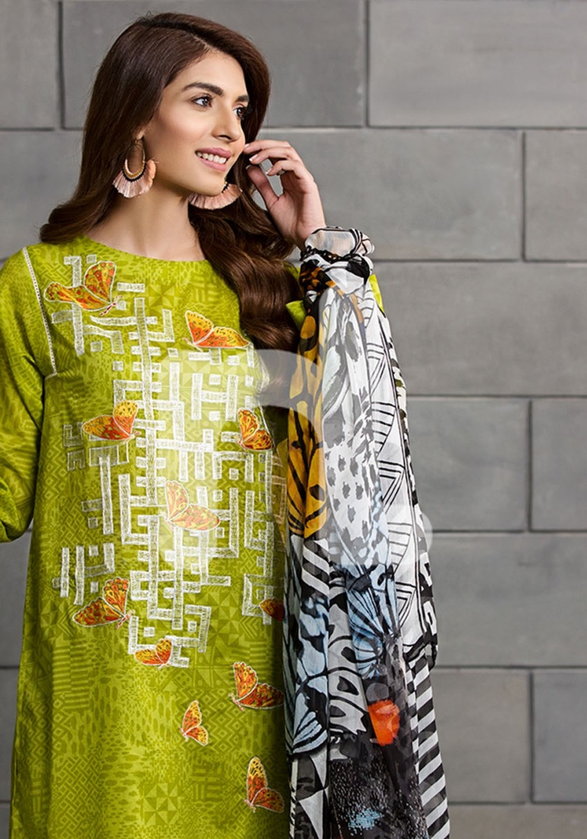 Nishat Linen Embroidered Lawn suit with chiffon dupatta