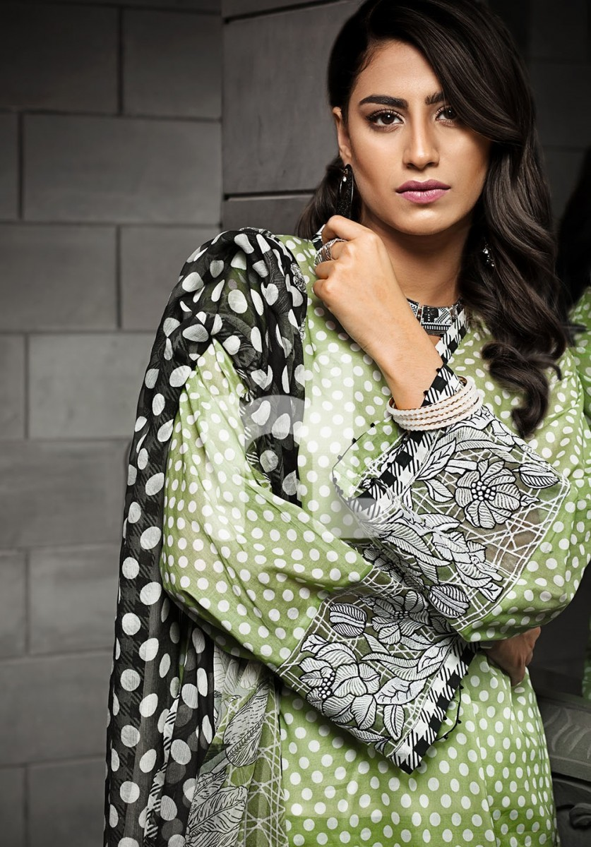 Green and Black Dotted lawn print by Nishat Linen