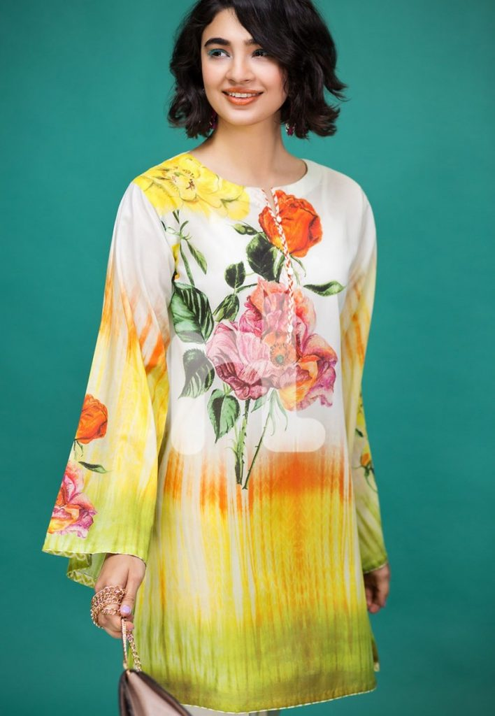 digital printed bright yellow dress