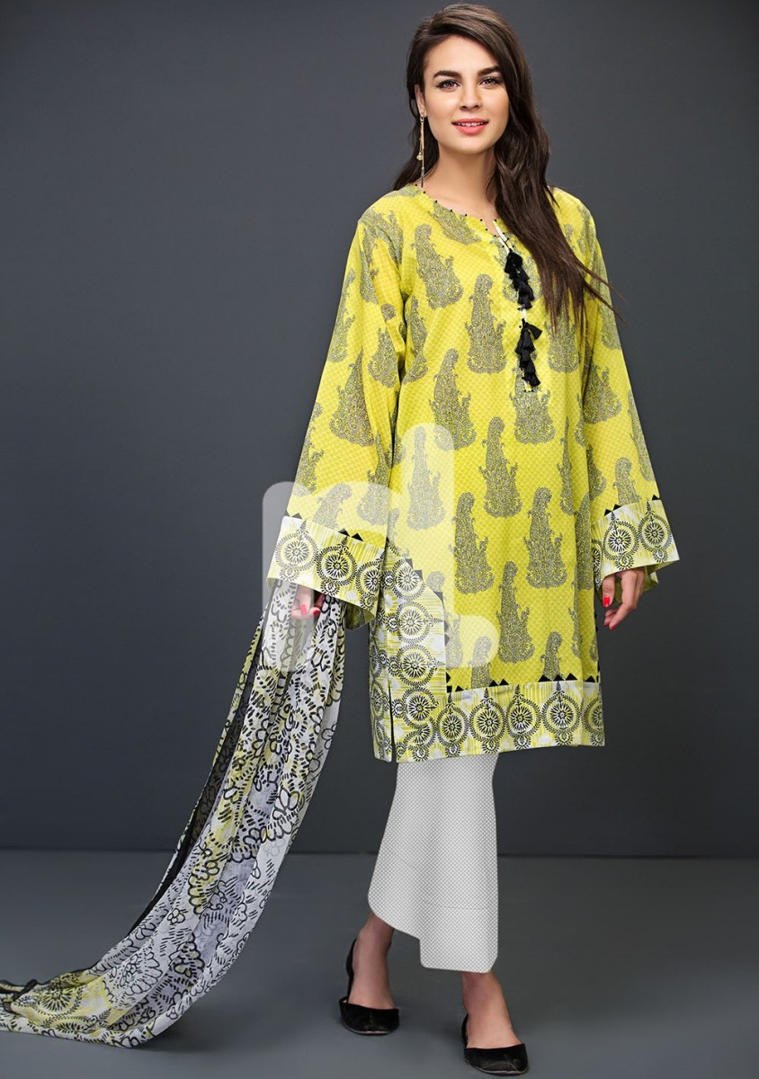 Nishat Linen Yellow royal printed lawn suit