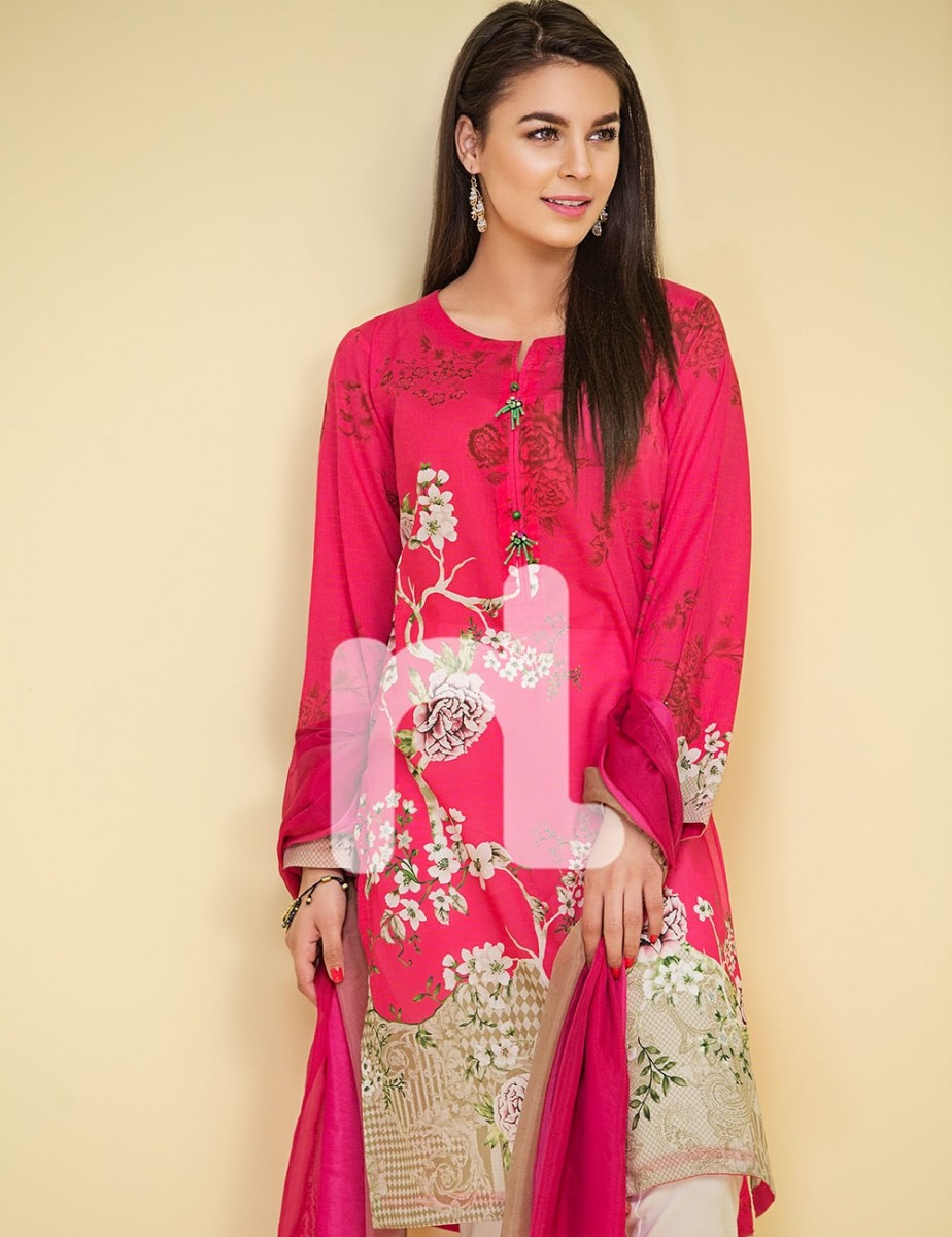 Nishat Shocking Pink Lawn suit with silk tie and dye dupatta