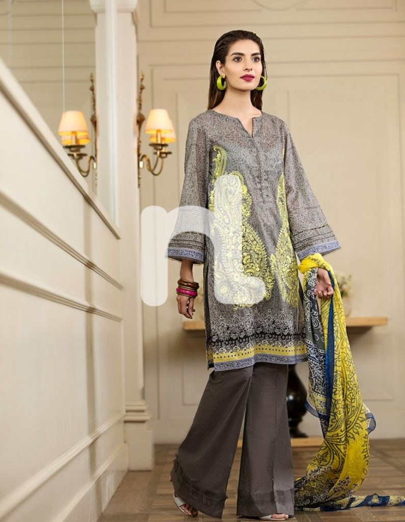grey lawn suit with yellow print