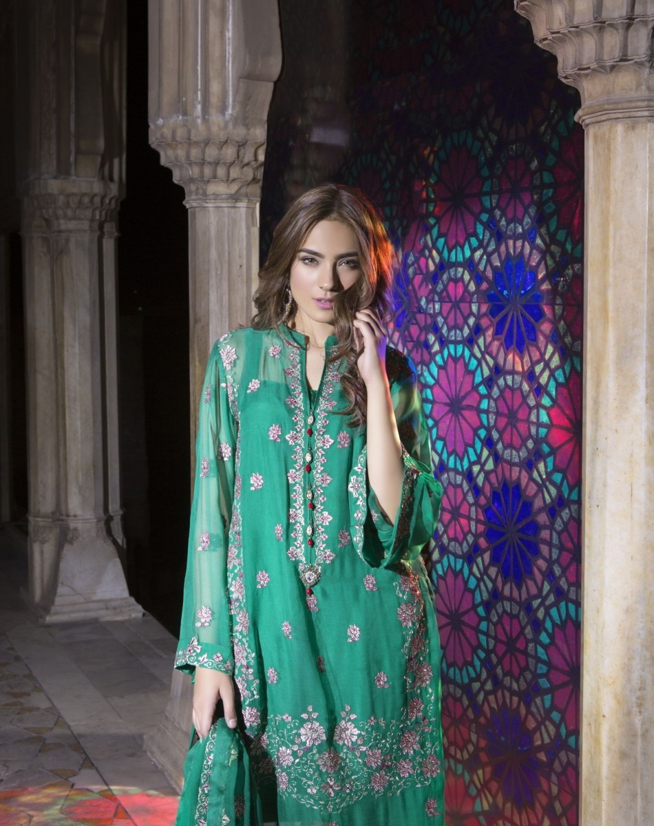 Classy Green Eid Dress by Bareeze