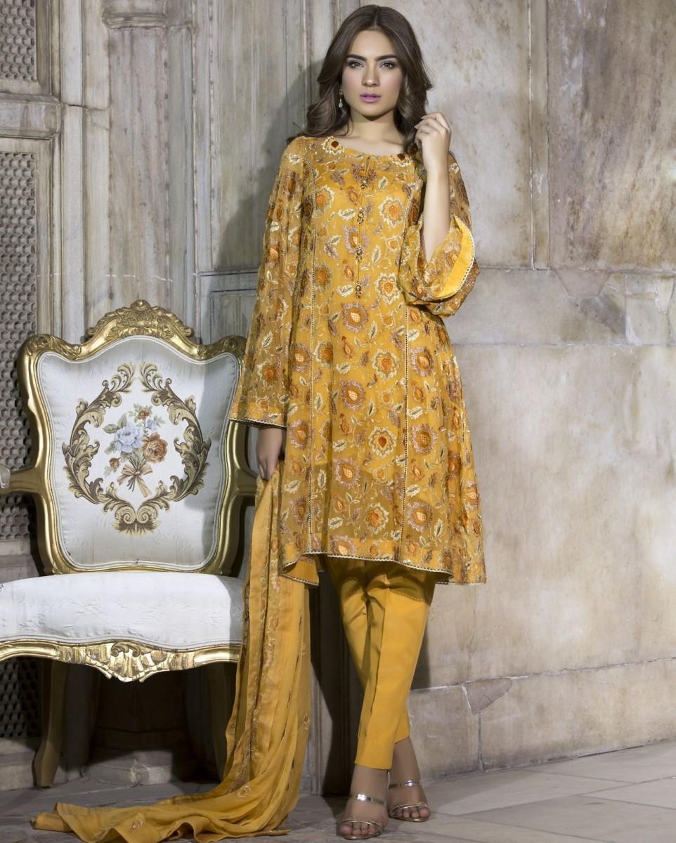 Bareeze Chiffon Self Mughal Brocade dress for Eid