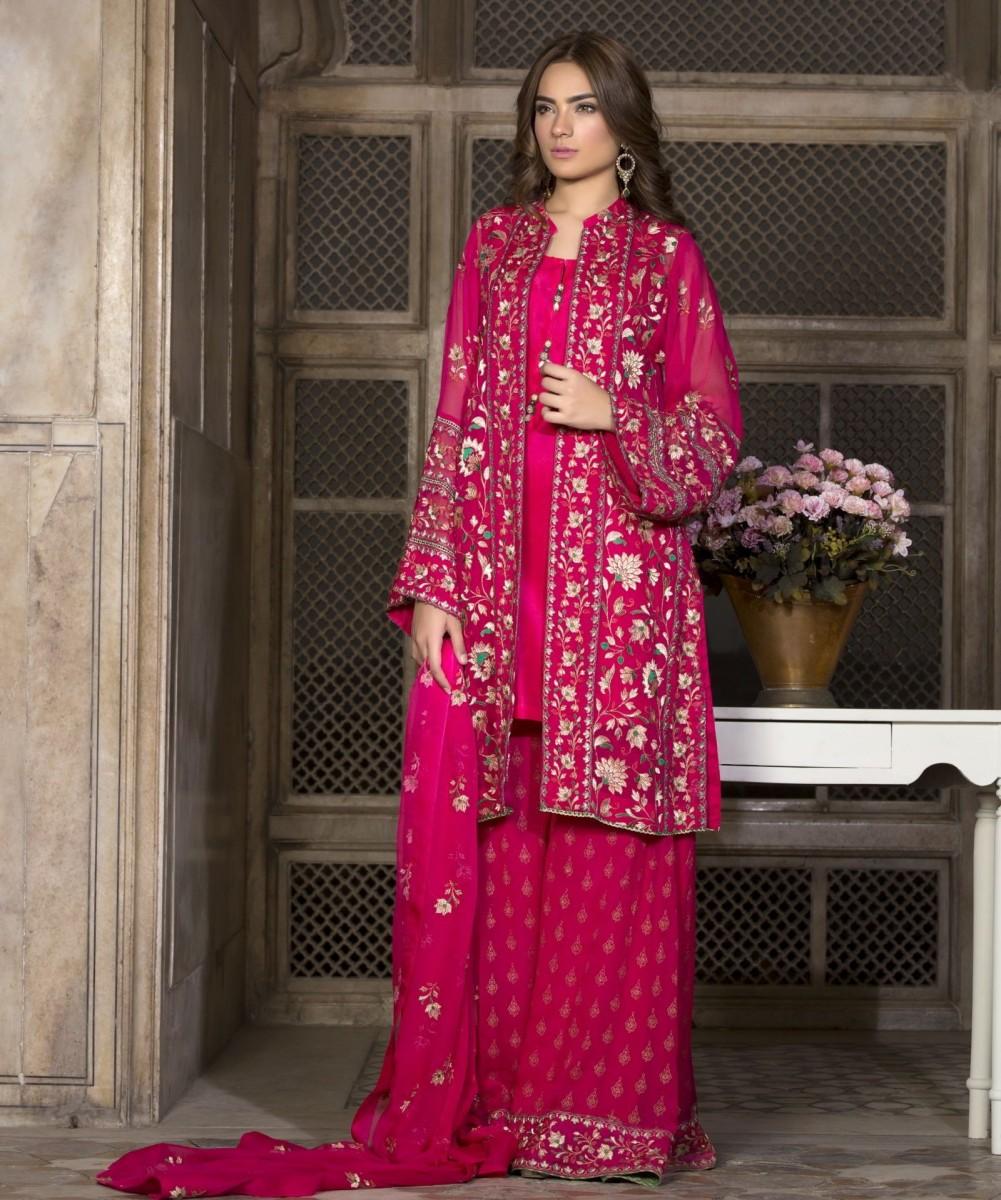 Bareeze Shocking Pink Self Jamsi Ki Rani Embroidered Chiffon Eid Dress