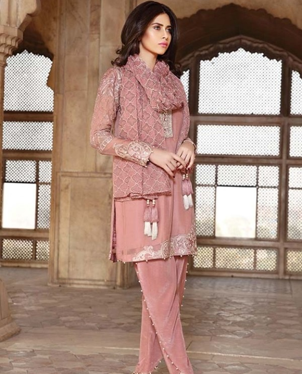 Motifz Premium Embroidered Chiffon Dusty Pink Eid Outfit