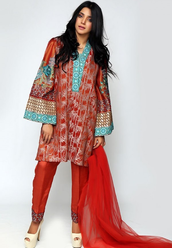 Motifz Formal Jamawar Eid Suit in Maroon Color