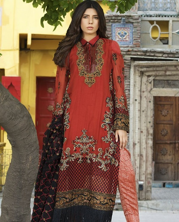 JASPER EMBROIDERED CRINKLE CHIFFON suit for Eid by Motifz
