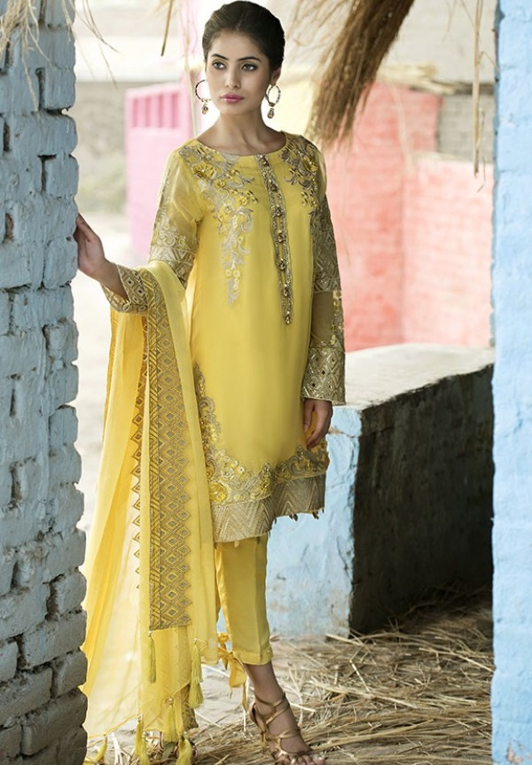 Buff Embroidered chiffon fancy Eid Dress by Motifz