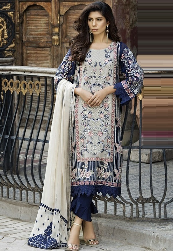 Embroidered Crinkle Chiffon unstitched Eid Dress by Motifz