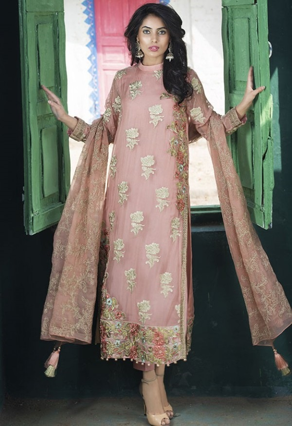 Motifz Fancy Eid Dress in Dust Storm color