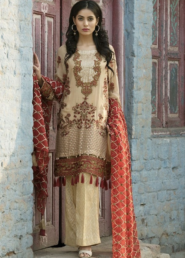 Dark Vanilla colored embroidered chiffon formal Eid dress by Motifz