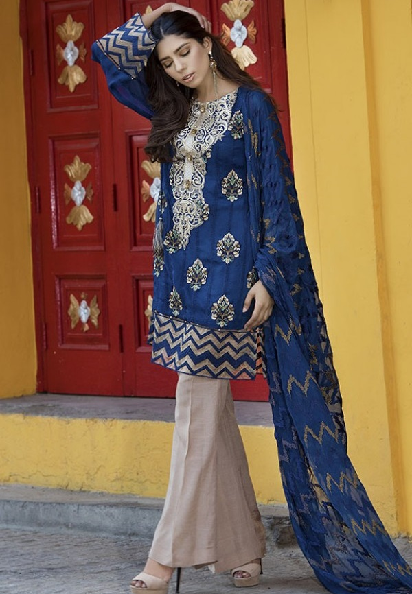 Dark Cerulean colored chiffon dress with embroidery for Eid