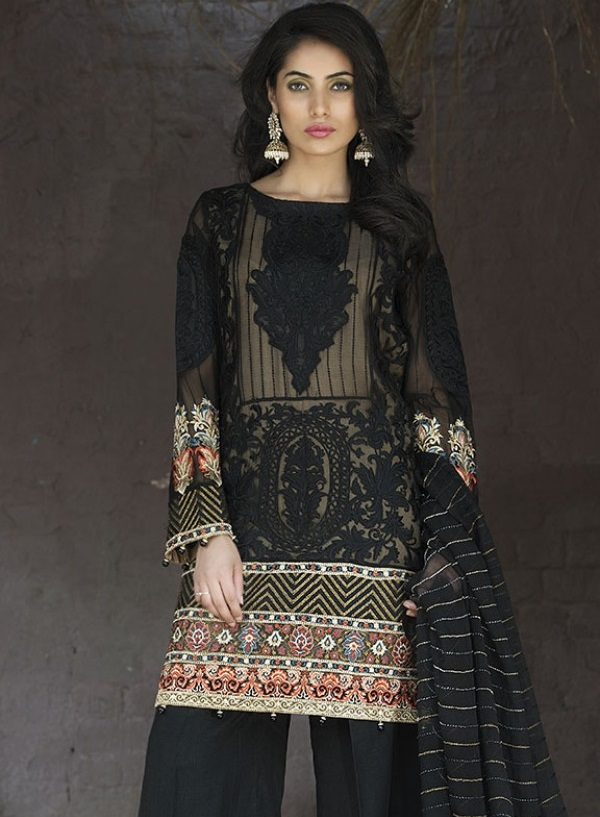 Motifz Jet Black Chiffon Eid Dress with embroidery