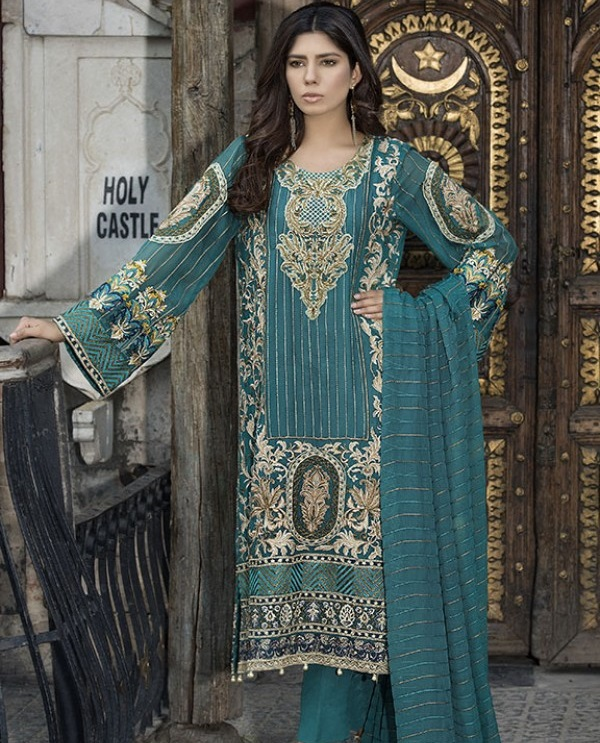 Embroidered Chiffon Eid Dress with pure chiffon dupatta by Motifz