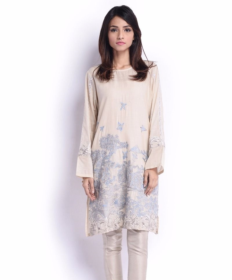 Sana Safinaz Eid Suit with embroidered hemline and sleeves
