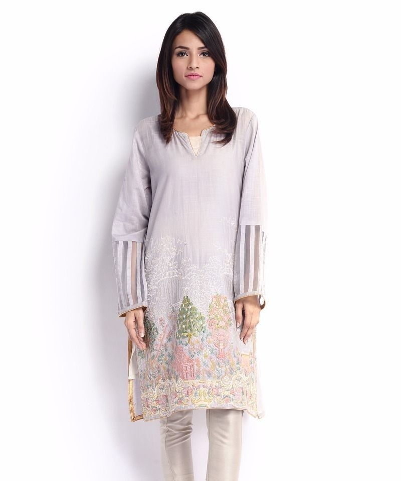 Sana Safinaz Cotton Eid Shirt with organza on sleeves border