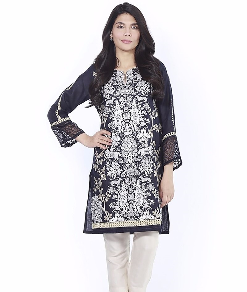 Thread embroidered Black Shirt with lace detailing on sleeves for EID