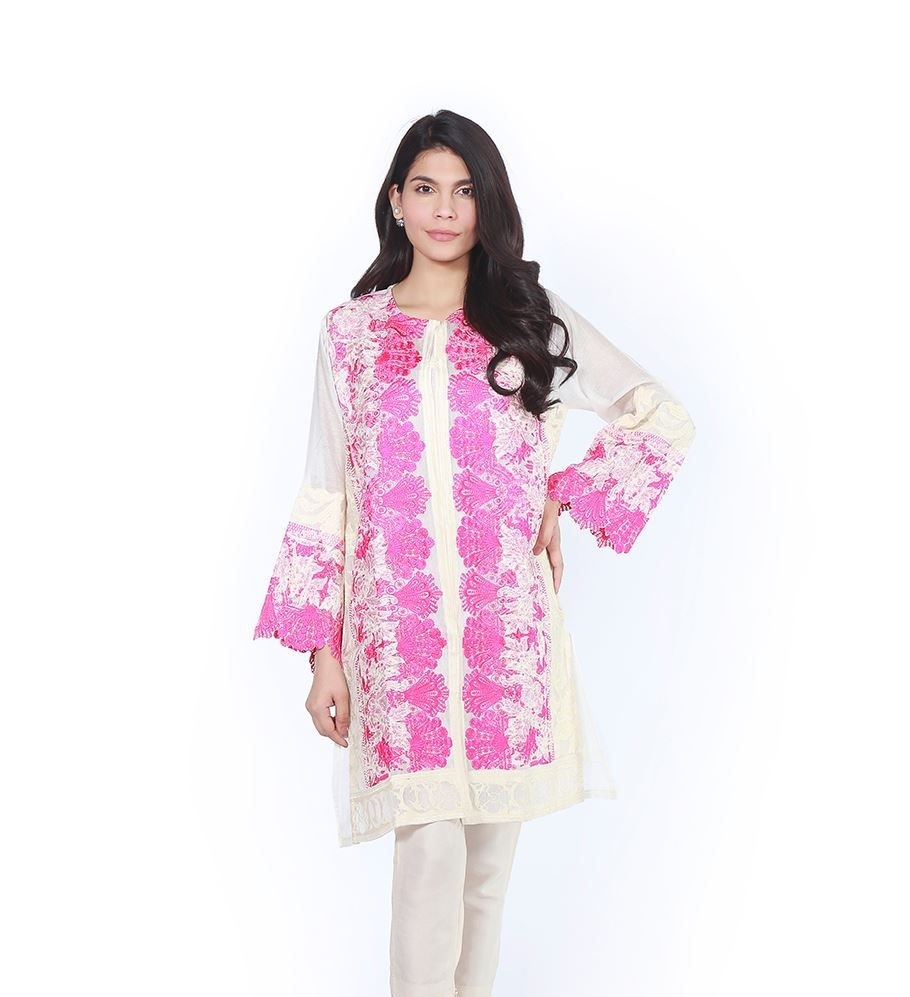 Shocking pink and white front open style embroidered Eid Shirt by Sana Safinaz