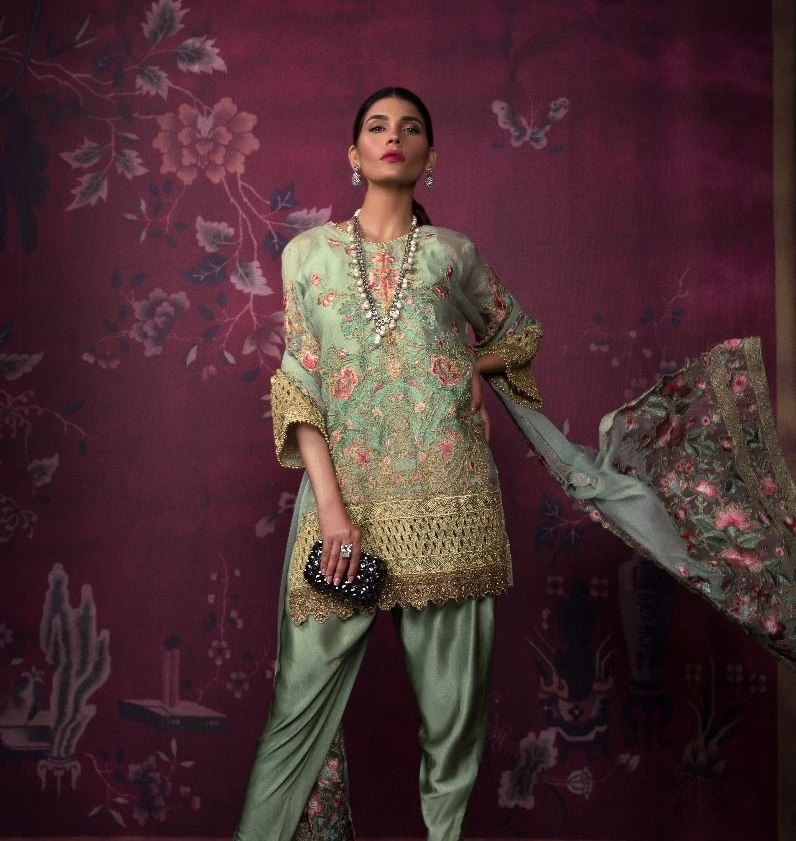 Sana Safinaz Resham and Tilla Embroidered Cotton Net Suit for Eid