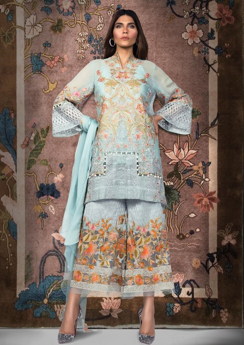 Sana Safinaz Ice-blue cotton net dress with silver tilla embroidery