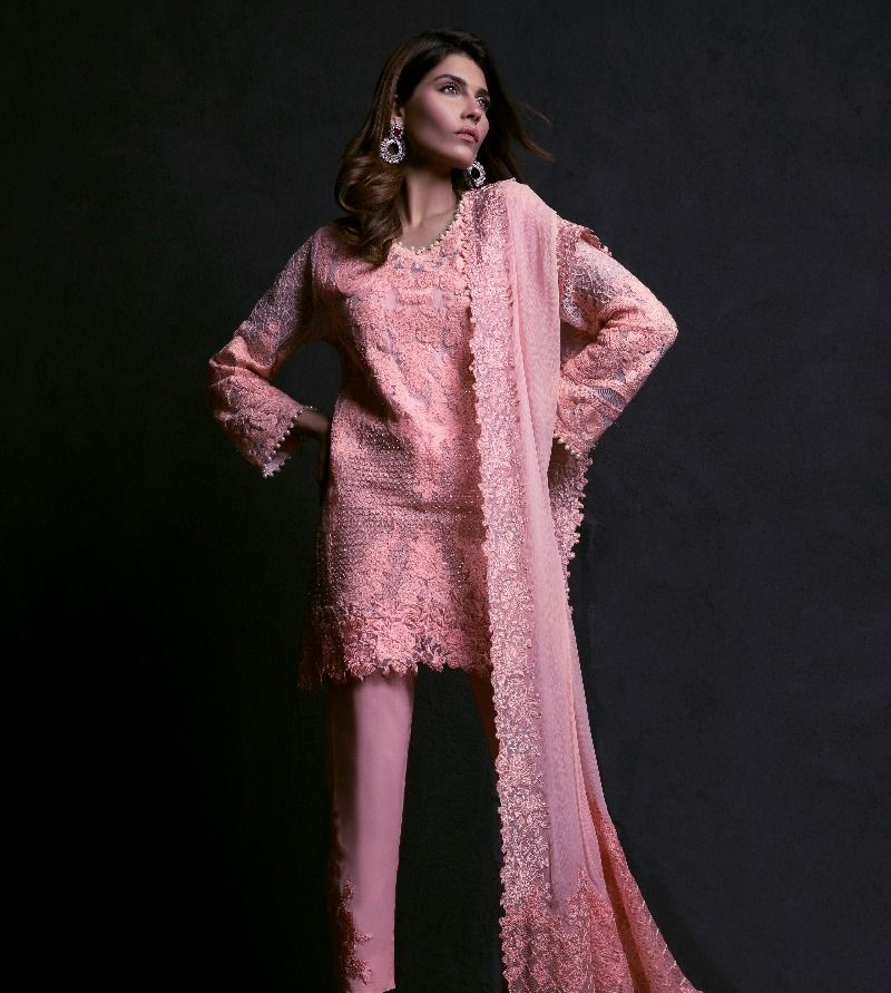 Sana Safinaz Baby Pink Poly Net Geometric Embroidered Eid Suit with tilla embroidery