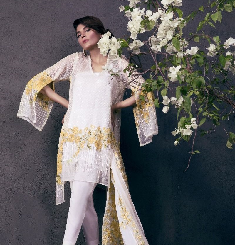 Sana Safinaz White and Yellow Contrast Fancy Eid Dress
