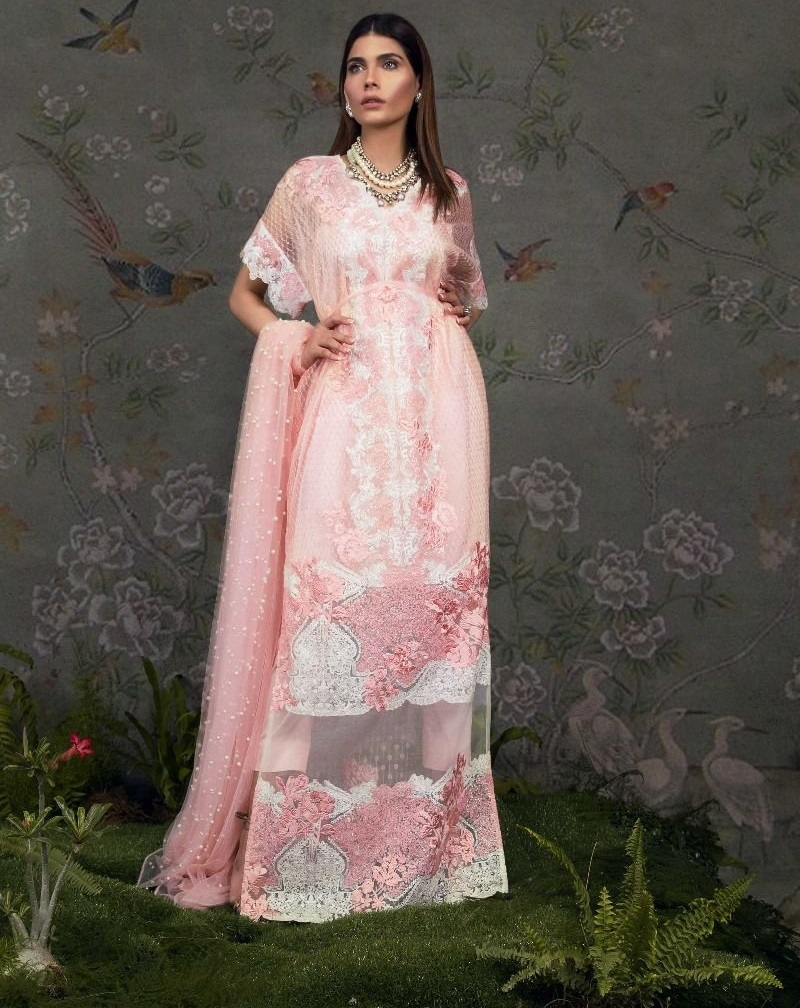 Sana Safinaz Pink Organza Sequined Eid Shirt with Dupatta Having Pearl Detailings
