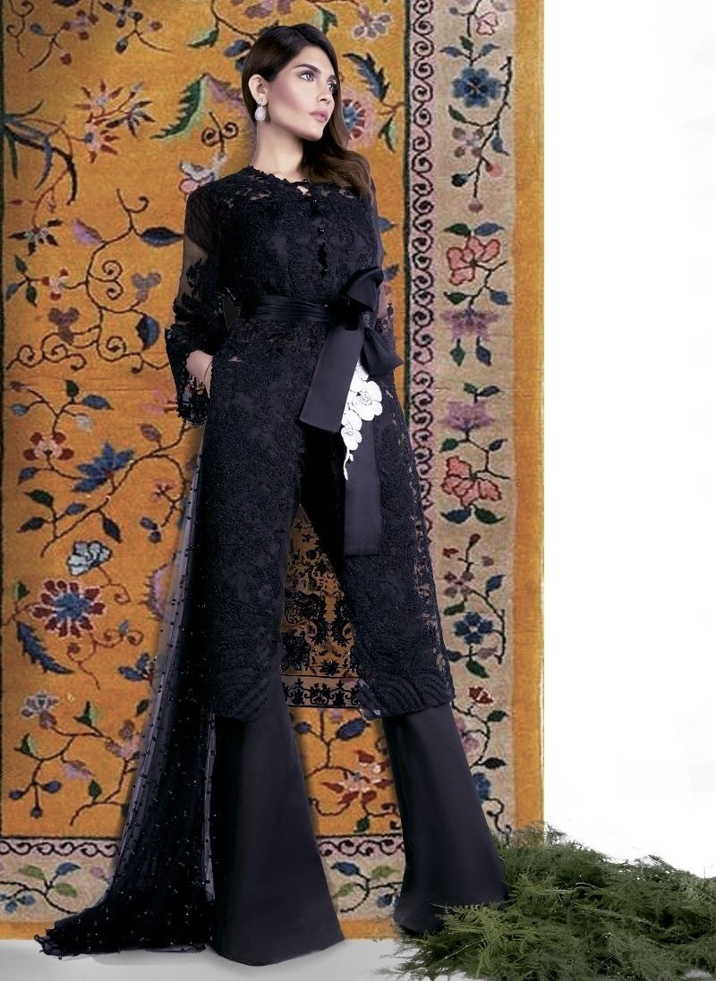 Sana Safinaz Black Organza Resham Embroidered Eid Outfit for women