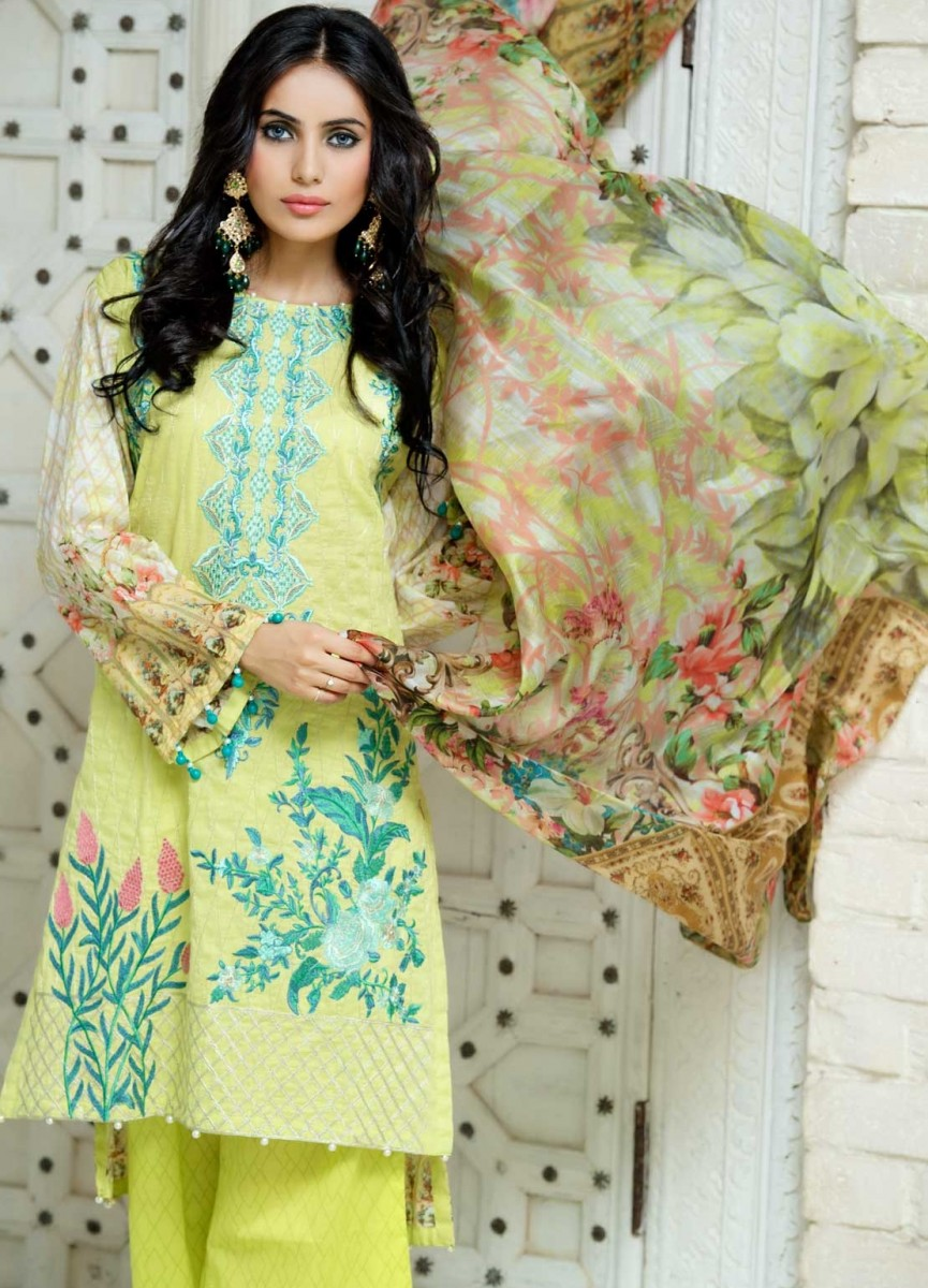 Warda Designer Lemon Yellow Embroidered Eid dress with silk dupatta