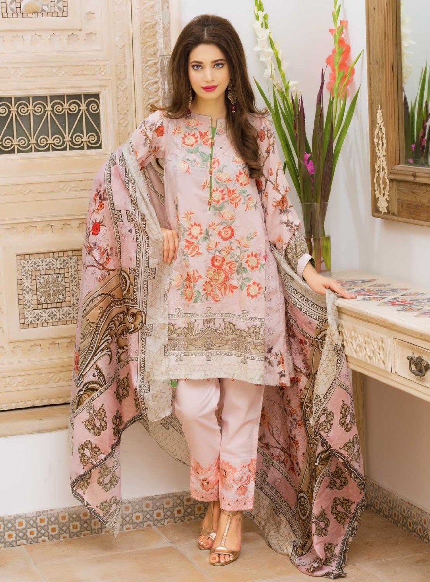 Warda Pink floral embroidered three piece dress for Eid